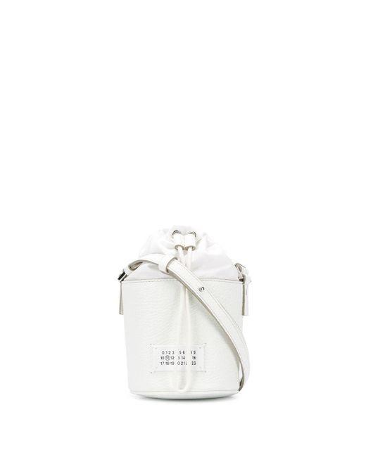 Maison Margiela グレインレザーバケットバッグ White