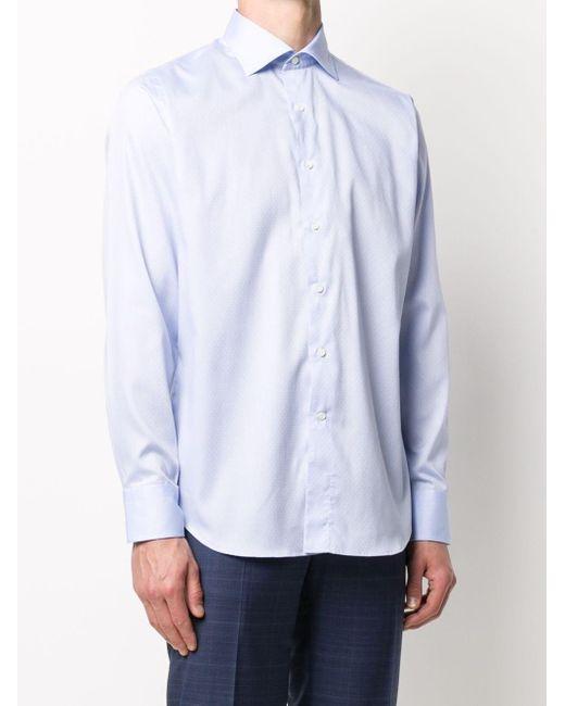 メンズ Canali スリムフィット シャツ Blue