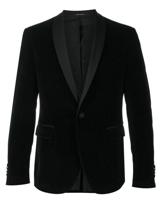 メンズ Tagliatore スリムフィット ベルベットジャケット Black