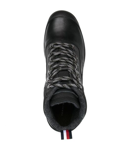メンズ Tommy Hilfiger ロゴ ハイキングブーツ Black