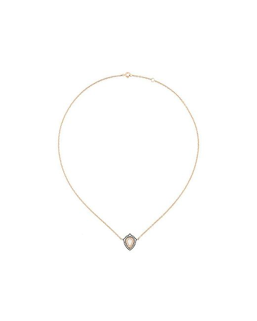 Monan Metallic Diamond Pendant Necklace