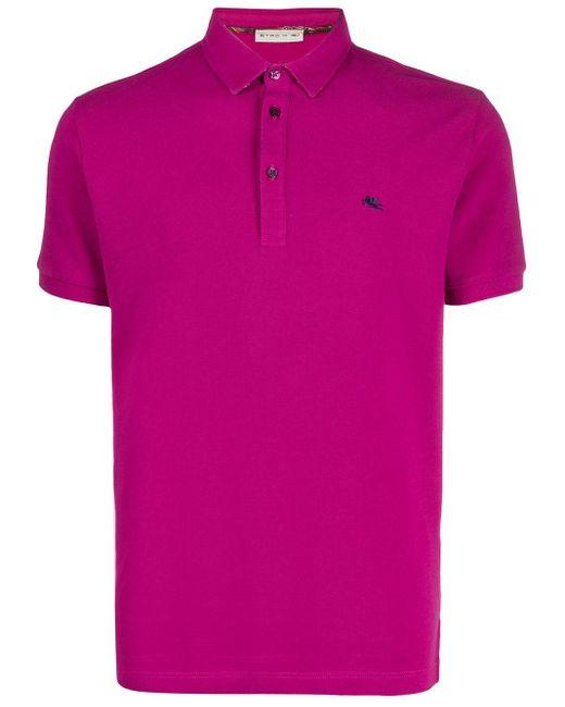 メンズ Etro ロゴ ポロシャツ Pink
