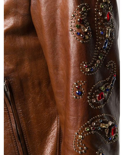 Декорированная Байкерская Куртка Golden Goose Deluxe Brand, цвет: Brown