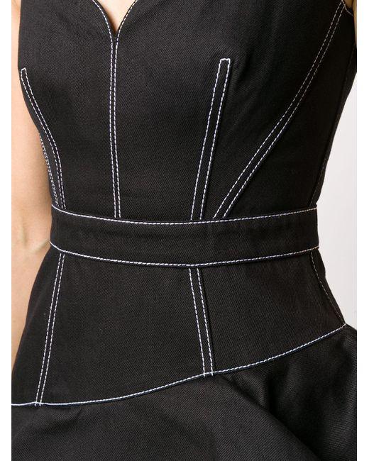 Джинсовое Платье Миди С Баской Alexander McQueen, цвет: Black