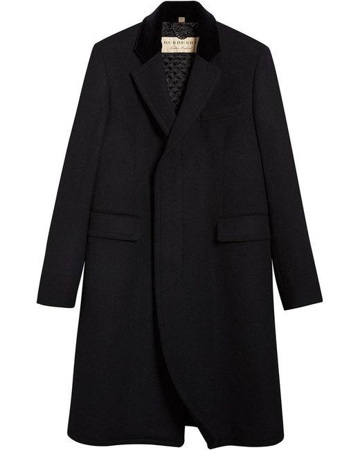 Burberry - Black Velvet Collar Riding Coat for Men - Lyst