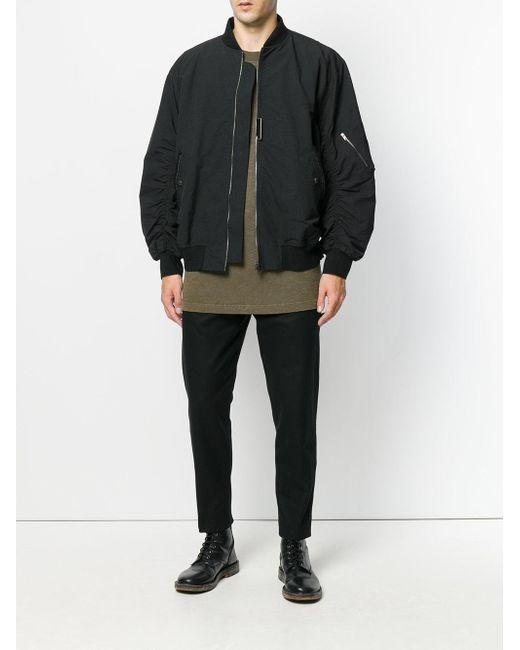 cca153f80 Men's Black Gathered Sleeve Bomber Jacket