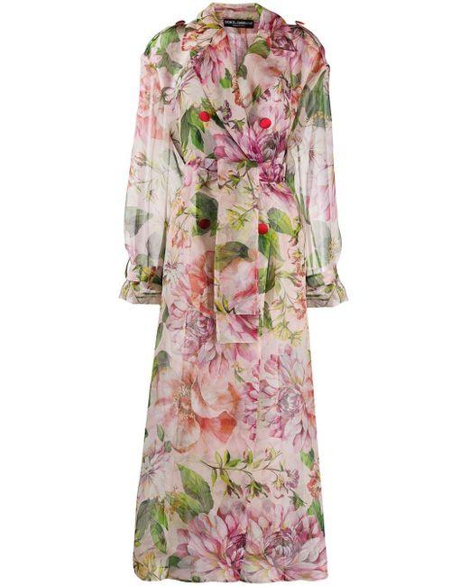 Dolce & Gabbana オーバーサイズ フローラルコート Pink