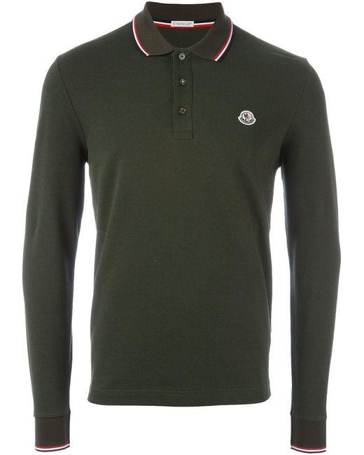 Moncler long sleeve logo polo shirt in green for men lyst for Moncler polo shirt sale