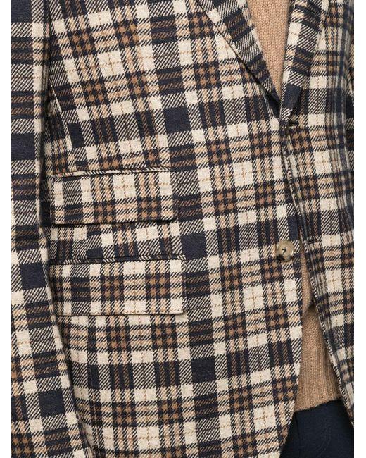 メンズ Eleventy チェック シングルジャケット Brown