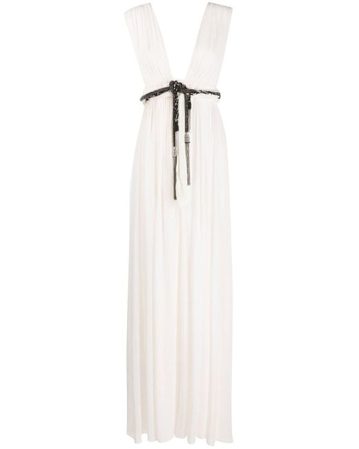 Vestito lungo con cintura di Saint Laurent in White