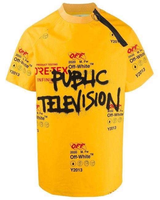 メンズ Off-White c/o Virgil Abloh グラフィックロゴ Tシャツ Yellow