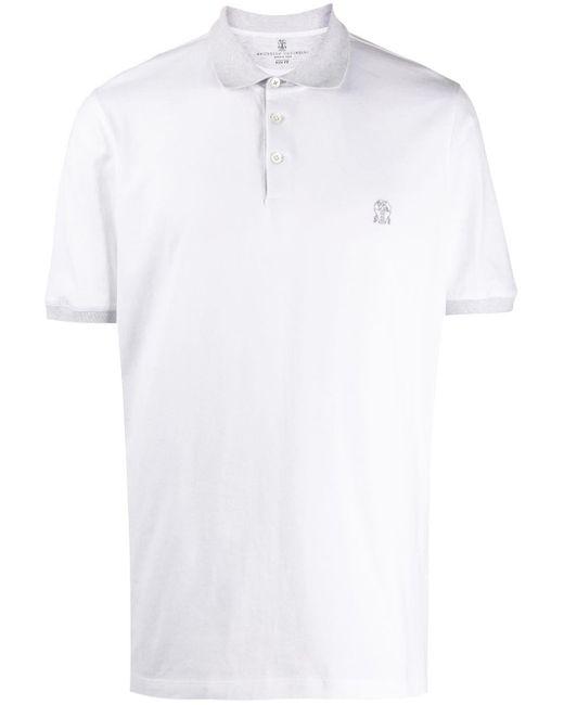 Рубашка-поло В Двух Тонах Brunello Cucinelli для него, цвет: White