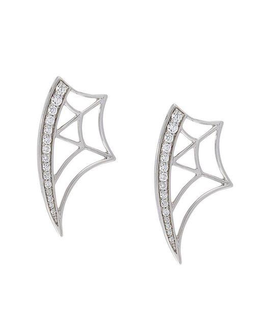 Eshvi - Metallic Diamond Web Earrings - Lyst