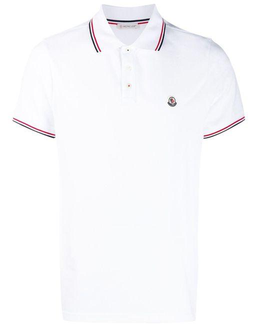 メンズ Moncler ストライプトリム ポロシャツ White