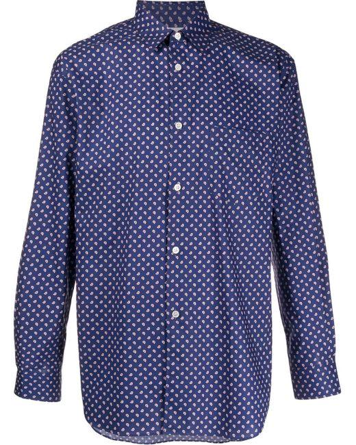 メンズ Comme des Garçons ペイズリー シャツ Blue