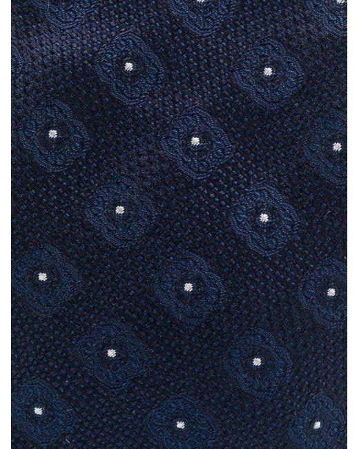 メンズ Dell'Oglio エンブロイダリー ネクタイ Blue