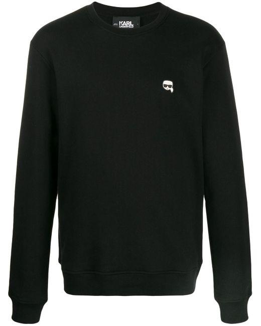 メンズ Karl Lagerfeld パッチ スウェットシャツ Black
