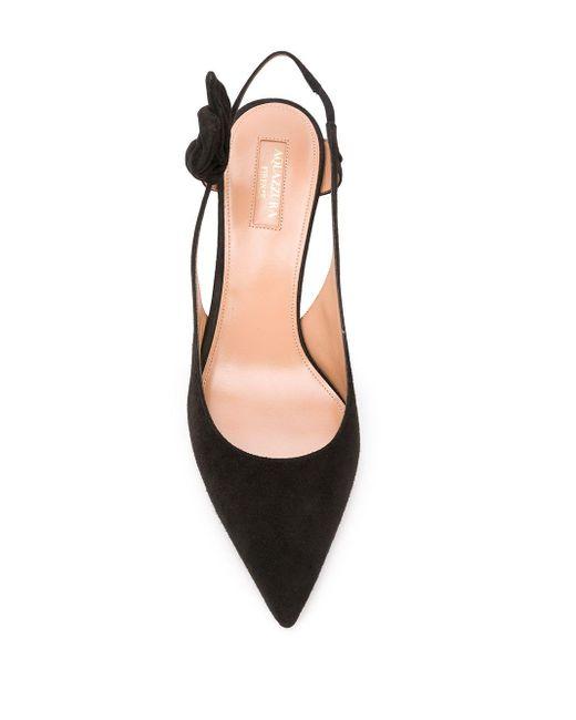 Zapatos de tacón con tira trasera y lazo Aquazzura de color Black