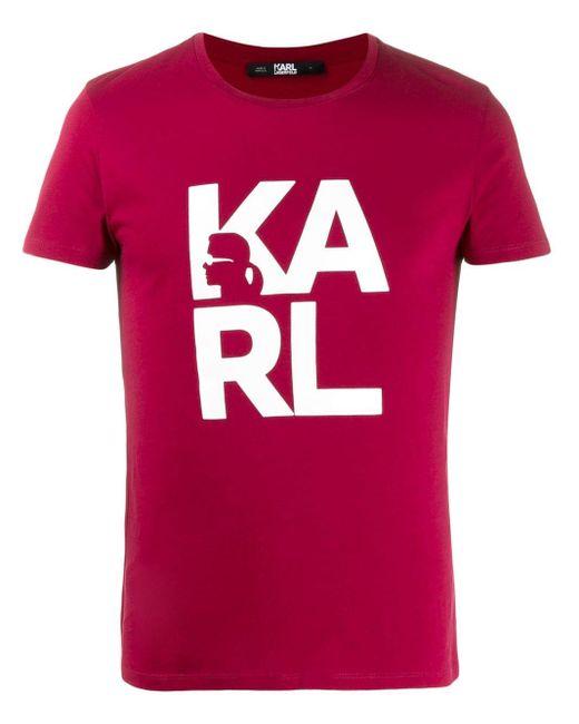 メンズ Karl Lagerfeld ブロック Tシャツ Red