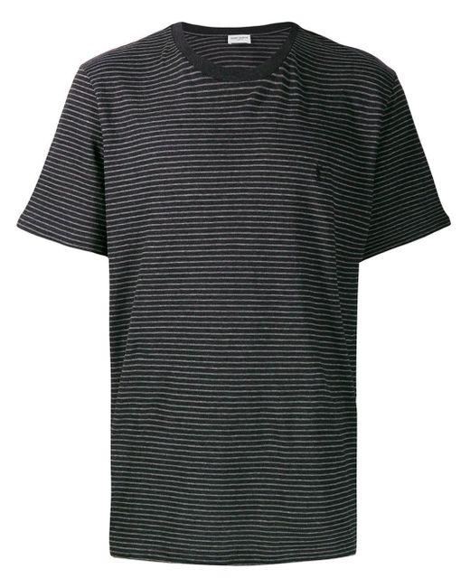 メンズ Saint Laurent ストライプ Tシャツ Black