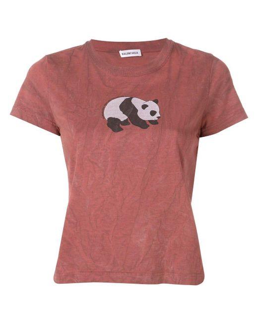 Exclusivo para Farfetch - camiseta con motivo de panda Balenciaga de color Brown