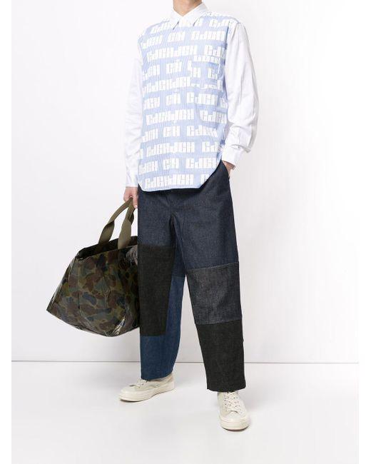 メンズ Comme des Garçons パッチワーク ワイドジーンズ Blue