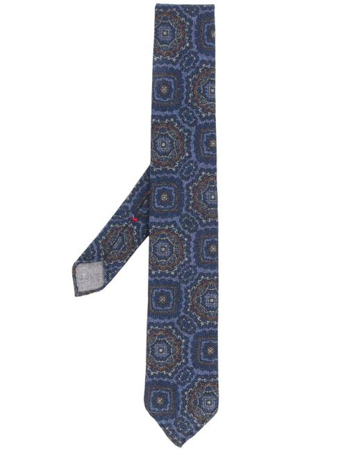メンズ Dell'Oglio アブストラクトプリント ネクタイ Blue