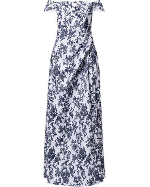 Robe longue à épaules dénudées Tadashi Shoji en coloris Blue