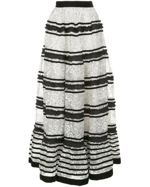 Flared lace maxi skirt Huishan Zhang en coloris White