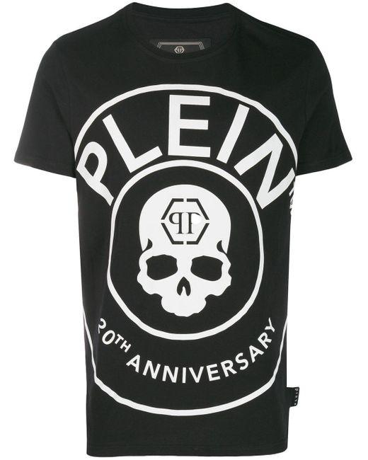 メンズ Philipp Plein コントラストロゴ Tシャツ Black
