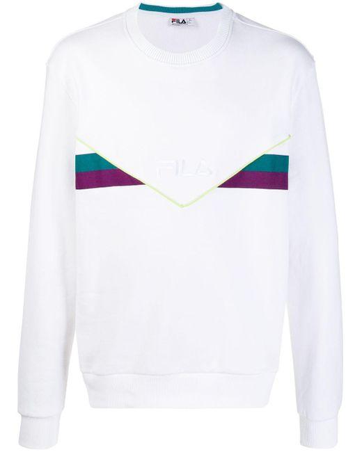 メンズ Fila ロゴ ストライプ スウェットシャツ White