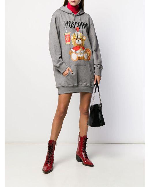 Robe-sweat Teddy Bear à capuche Moschino en coloris Gray
