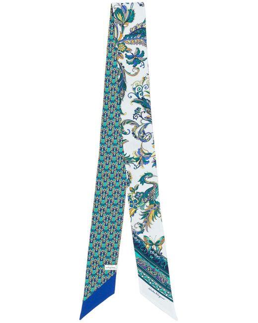 Ferragamo ペイズリー スカーフ Blue