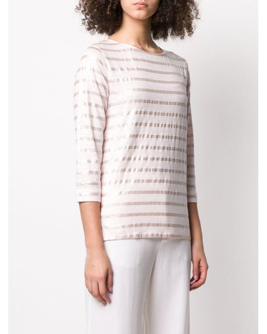 Majestic Filatures メタリック ストライプ Tシャツ Pink