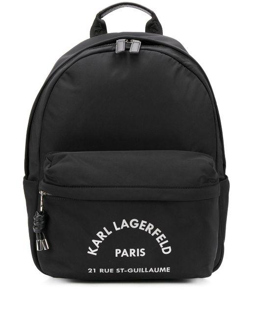 Karl Lagerfeld Address プリント バックパック Black