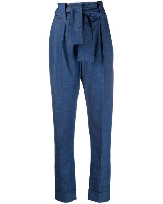 Pantalones Sara's tapered con cinturón Sara Battaglia de color Blue