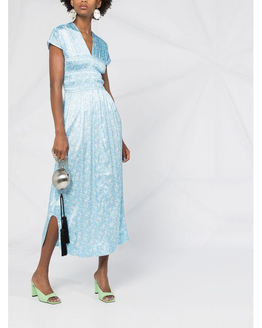 Ganni フローラル ドレス Blue