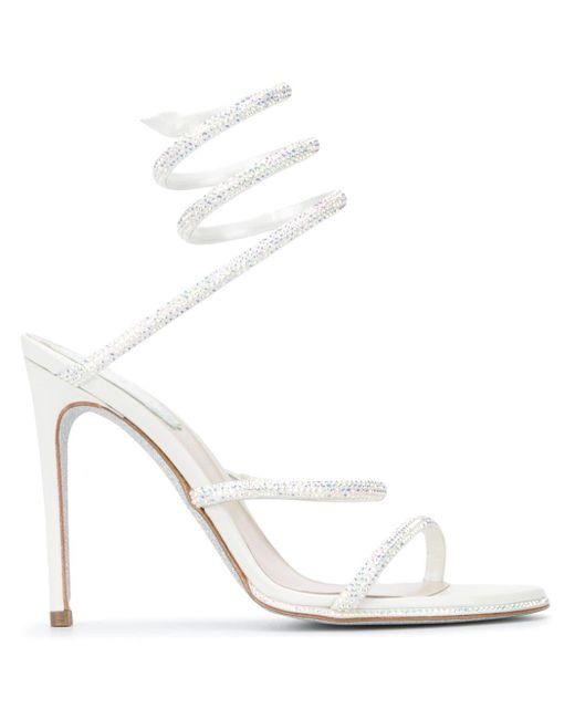 Rene Caovilla White Crystal-embellished Spiral Sandals