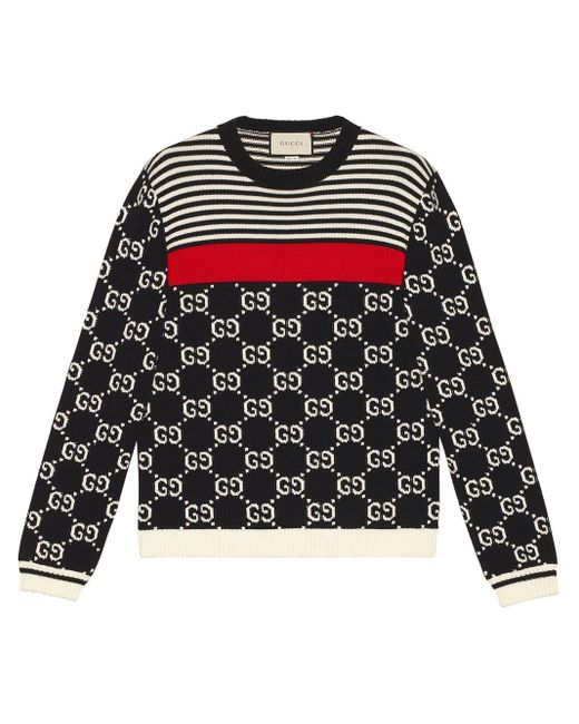 Gucci GG And Stripes Knit Sweater in het Blue voor heren