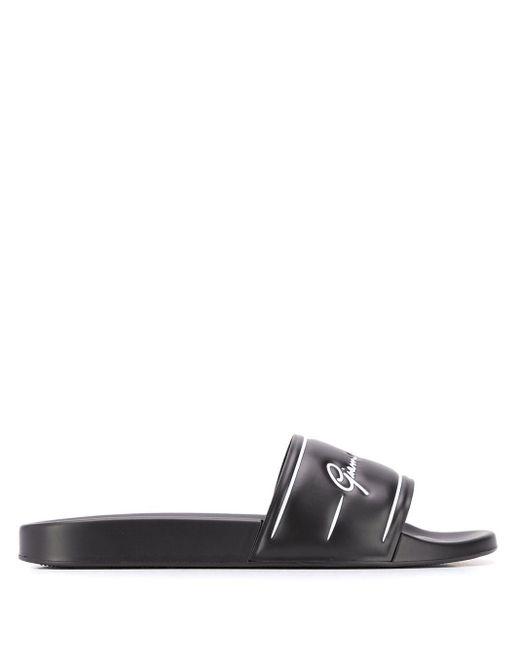 メンズ Versace ロゴ サンダル Black