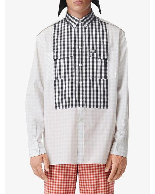 Рубашка Со Вставкой В Клетку Гингем Burberry для него, цвет: Gray