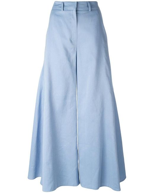 Peter Pilotto | Blue Flared Godet Trousers | Lyst