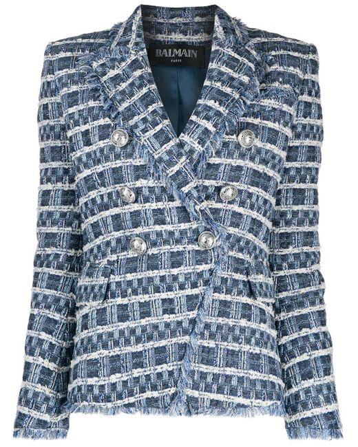 Balmain Blue Doppelreihiger Tweed-Blazer