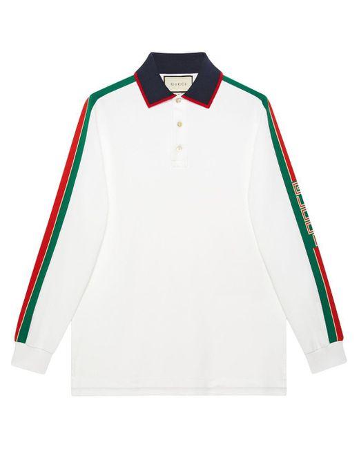 メンズ Gucci ストライプ ロングスリーブ ポロシャツ Multicolor