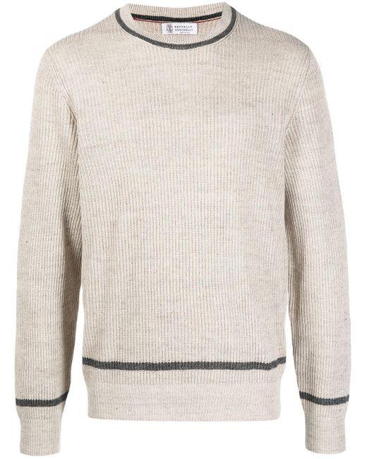 メンズ Brunello Cucinelli クルーネック セーター Natural