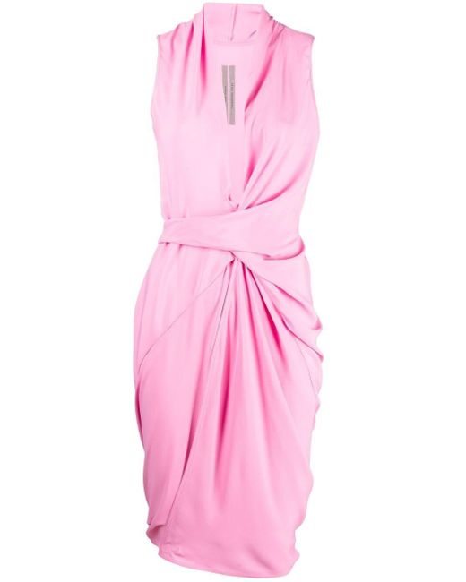 Robe asymétrique froncée Rick Owens en coloris Pink