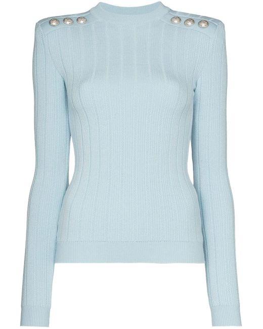 Balmain ボタン セーター Blue