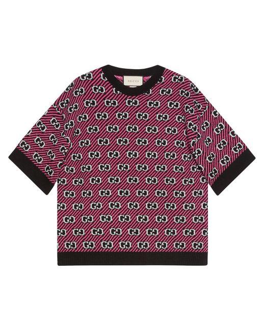Gucci グッチGG ストライプ ウール ジャカード トップ Pink