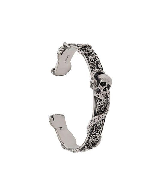 Браслет-кафф Skull And Snake Alexander McQueen для него, цвет: Metallic