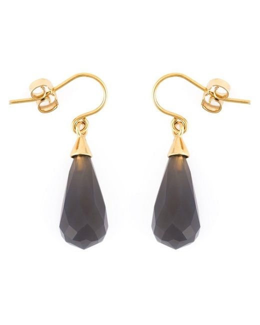 Wouters & Hendrix | Metallic Grey Agate Drop Earrings | Lyst